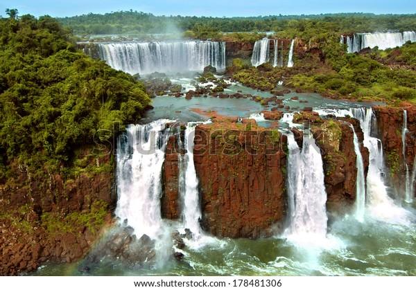 Iguazu waterfalls in Argentina and Brazil