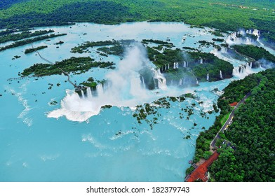 Iguazu waterfalls from helicopter. Border of Brazil and Argentina.