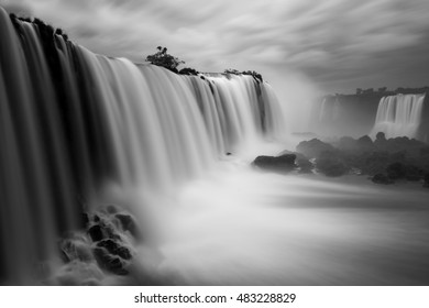 The Iguazu waterfalls with a long exposure of 30 seconds and a black and white edition, Brazil.