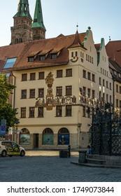IHK Mittelfranken, Nuremberg, Bavaria / Germany - May 28th 2020. View on the new IHK building in the old town in Nuremberg near the Hauptmarkt. Haus der Wirtschaft / House of economy. Handelskammer