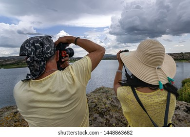 Ihsaniye, Afyonkarahisar / Turkey-June 08 2019: Phrygian Valley Nature Park (Phrygian Valley Nature Park).  Man and Woman, Photographers, Photographing.
