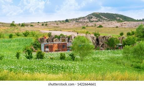 Ihsaniye, Afyonkarahisar/Turkey-June 08 2019: Container house in Phrygia Valley Natural Park (Frig Vadisi Tabiat Parki)