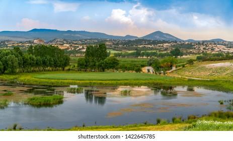 Ihsaniye, Afyonkarahisar/Turkey-June 08 2019: Phrygia Valley Natural Park (Frig Vadisi Tabiat Parki) with Lake Emre