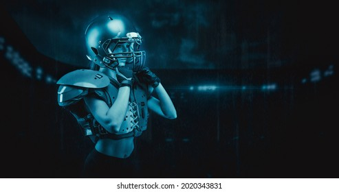 Iimage of a girl at the stadium in the uniform of an American football team player. Sports concept. Mixed media