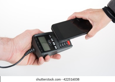 IImage of people using NFC technology to pay bill isolated