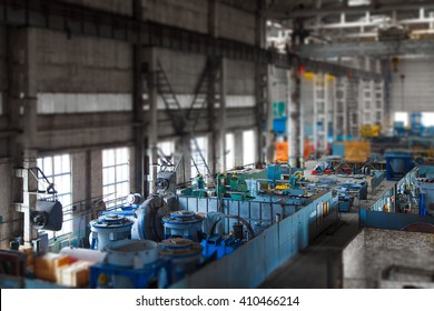 Iinterior of the old machine-tool factory shop. Factory shop shot on tilt-shift lens