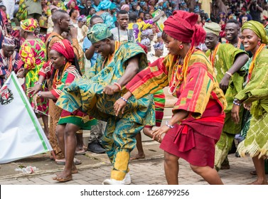 IJEBU ODE, OGUN STATE, NIGERIA- AUGUST 23, 2018: Members of a cultural troupe dances to entertain spectators during the Ojude Oba festival in Ijebu Ode, Ogun State.