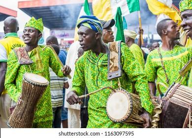 IJEBU-ODE, OGUN STATE, NIGERIA- AUGUST 23: Drummers dressed in traditional Yoruba attire perform at the Ojude Oba Festival, August 23, 2018, in Ogun State, Nigeria.