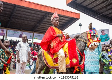 IJEBU-ODE,OGUN STATE, NIGERIA- AUGUST 23: A boy sits on a stallion during the Ojude Oba Festival celebrations  on August 23,2018 in Ogun State, Nigeria. The festival holds three days after Eid Kabir