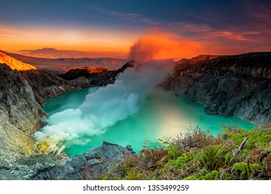 Ijen crater is a lake located between Banyuwangi and Bondowoso, Eas Java, Indonesia. Besides of the lake containing sulfur, nearby sources of sulfur are very well known as blue fire or blue flame .