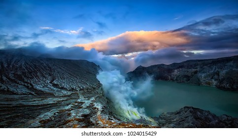 The Ijen volcano complex is a group of composite volcanoes in the Banyuwangi Regency of East Java, Indonesia.The lake is recognised as the largest highly acidic crater lake in the world