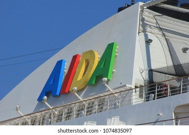 IJmuiden, the Netherlands - April, 20 2018: Aida Sol docked in IJmuiden, detail of Aida logo