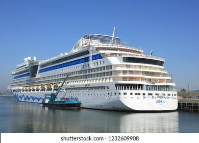 IJmuiden, the Netherlands - April, 20 2018: Aida Sol docked in IJmuiden, Felison Terminal