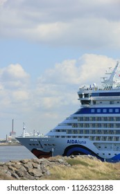 IJmuiden, the Netherlands -April 29th, 2017:   Aida Luna docked at Felison Cruise Terminal IJmuiden
