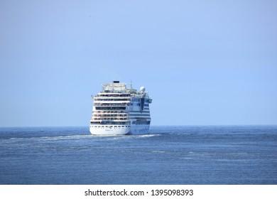 IJmuiden, the Netherlands -April 29th, 2017:   Aida Luna leaving IJmuiden on North sea