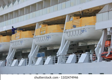 IJmuiden, the Netherlands - April 30th, 2017:   Aida Sol docked at the Felison Cruise Terminal, detail of safety vessels