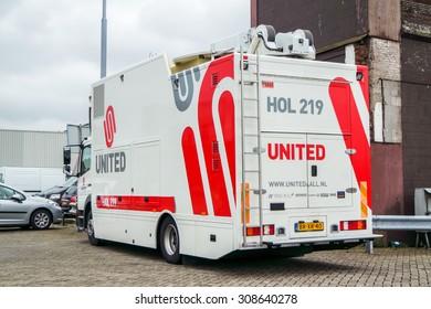 IJMUIDEN, NETHERLANDS - AUGUS 16 2015 : United television broadcast van arrives at the Ijmuiden harbour festival