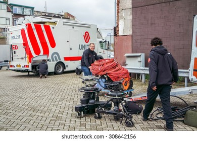 IJMUIDEN, NETHERLANDS - AUGUST 16 2015 : United television broadcast workers prepare for the Ijmuiden harbour festival