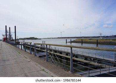 IJmuiden, The Netherlands - June 06, 2019; On the sea side of the lock complex is the fortress island of IJmuiden, which is part of the 'Stelling van Amsterdam'.