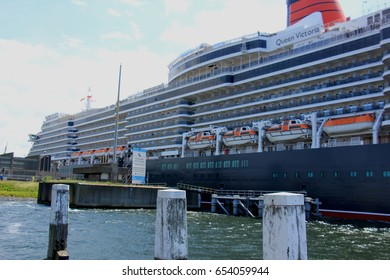IJmuiden, The Netherlands - June 5th 2017: Queen Victoria, Cunard on North Sea Channel, entering the North Sea Lock