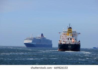 IJmuiden, The Netherlands - June 5th 2017: Queen Victoria, Cunard on North Sea Channel towards North Sea Lock in IJmuiden