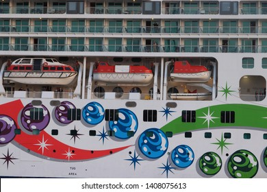 IJmuiden, the Netherlands -May 25th, 2019: Norwegian Pearl leaving IJmuiden Sea lock. Norwegian Pearl is operated by Norwegian Cruise Line, detail of hull