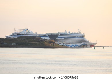 IJmuiden, the Netherlands - May 25th, 2019: Aida Bella leaving IJmuiden Felison terminal on North sea canal, Aida Bella is operated by AIDA Cruises, built at Meyer Werft shipyard in Papenburg.