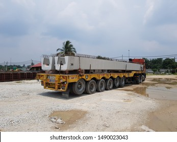 Ijok, Selangor. August 23 2019. Precast concrete U-Beam on the low loader trailer ready to be delivered at site.