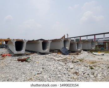 Ijok, Selangor. August 23 2019. Precast concrete U-Beam in the casting yard.