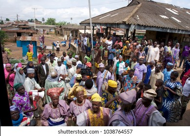 Ijoko, Ogun state/Nigeria - July 2nd, 2016. A group of village elders from the town of Ijoko in Nigeria came in traditional outfit to recieve guests from Lagos. At train station. Warm welcome.