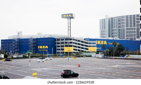IKEA Home Furnishings Center. OSAKA, Japan - October 28, 2017 image exterior view of empty parking lots in modern shopping center. IKEA Modern Trade Shopping Center outdoor parking.