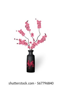 Ikebana. Composition. Figure branches Sakura flower. On a white background with shadow. Raster illustration