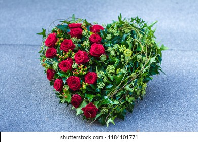 Ikebana - Funeral wreath in the shape of a heart.
