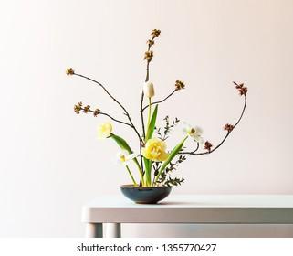 ikebana on a white background