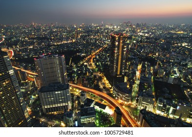 Ikebukuro, Tokyo Prefecture, Japan, January 20 2018: Beautiful Tokyo night view cityscape in winter. Sky Circus Sunshine60 Observatory at 251 meters above sea level.