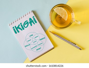 ikigai. The word Ikigai on notebook and pen on blue and yellow background. IKIGAI is a Japanese concept reason for being of life purpose.