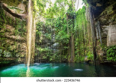 Ik-Kil Cenote near Chichen Itza, Mexico. General view