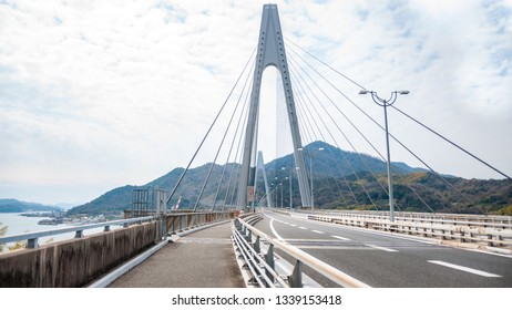 Ikuchi Bridge, which connects Innoshima Island with Ikuchi Island, is the second bridge to cross while on the Shimanami Kaido cycling tour starting from Onomichi and ending at Imabari.