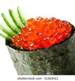 Ikura (Salmon Roe) Gunkan Maki Sushi with Cucumber