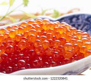 Ikura (salmon roe, red caviar, salmon caviar)