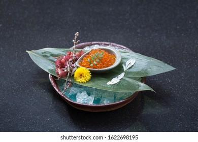Ikura sashimi Japanese food decorates on dish