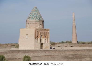 Il Aslan Mausoleum with Kutlug Timur Minaret in the background, in Konye Urgench, Turkmenistan