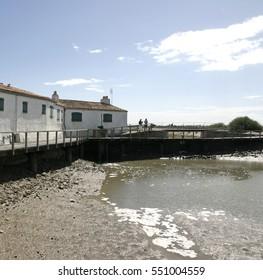 Il de Re, Port de Loix cycle route and sluice gate.