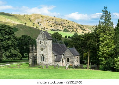 Ilam, Staffordshire, UK: Church of the Holy Cross, a small stone church near the village of Ilam, close to Peak District.