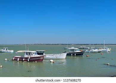 Ile de Ré - Boats in the harbor of French village Loix