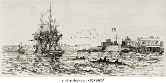 Ile de Goree old view, Senegal. Created by Durand-Brager, published on Magasin Pittoresque, Paris, 1843