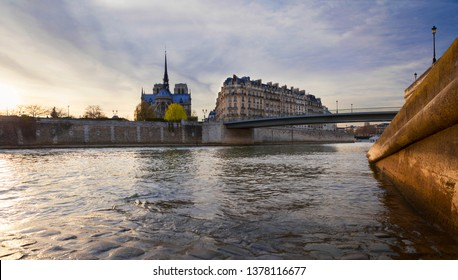 Ile de la Cite, River Seine and Notre Dame cathedral in Paris, France