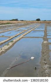 Ile de Ré salt lakes wheelbarrow and other tools