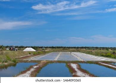 Ile de Re salt lakes wheelbarrow and other tools