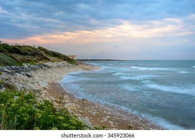 Ile d'Oleron,France coastline at sunset near La Cotiniere, Charente Maritime